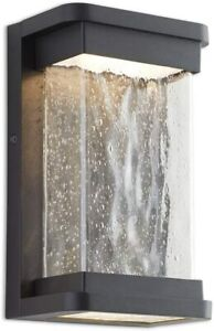 LUTEC Starry LED Wall Light with Seeded Glass Shade Outdoor Indoor Wall Lantern