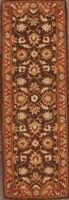"Hand-tufted Floral Brown Runner 2x8 Tebriz Agra Oriental Wool Rug 7' 10"" x 2' 6"""