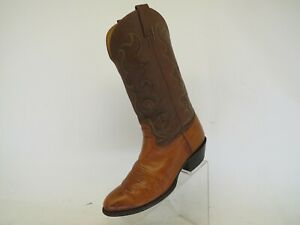Nocona Brown Leather Ostrich Cowboy Western Boots Mens Size 9.5 EE
