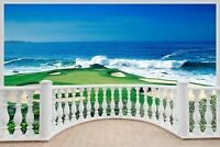 Huge 3D Balcony Golf Fairway Ocean Wall Sticker Mural Wallpaper 273