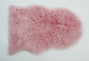 Faux Fur Sheepskin Pink Rug 60cm by 90cm