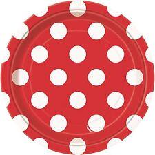 Ruby Red & White Polka Dot | Dots 17cm Dessert Cake Party Paper Plates 1-48pk