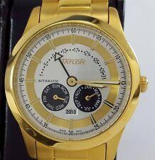 Taylor Swiss Tech Automatic Watch Gold Tone Bracelet Butterfly Buckle Calendar