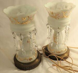 Vintage 2 Matching Mantel Lamps Luster White Glass Gold Trim Hanging Prisms NICE