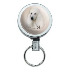 Poodle Dog Breed Metal Retractable Belt Clip Reel ID Badge Key Card Tag Holder