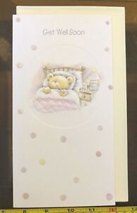 Get Well Soon Health Wishes Cute Teddy Card New with Envelope