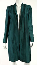 DRIES VAN NOTEN Teal Rayon Ramie Blend Notch Lapel Open-Front Coat 40