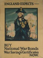 c. 1917 England Expects Buy National War Bonds Now Savings Certificates Poster
