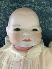 "Bylo Baby 15"" Reproduction Bisque Head Hands Cloth Frog Body Vintage Dress"