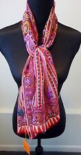 Etro NWT 100% Silk Chiffon Etro Colorful Red Pink Print Oblong Scarf Retail $245