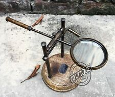 Vintage Old Steampunk Ornament Desk Magnifying Glass - Wooden Stand Brass -
