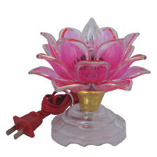 "5"" Chinese Asian Table Desk Altar Lotus Buddha Lamp Light"