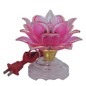 "5"" Chinese Asian Table Desk Altar Lotus Buddha Lamp Light"