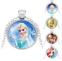 Kid's Pendant Necklace For Girls Princess Muana Jasmine Elsa Anna Snow Queen