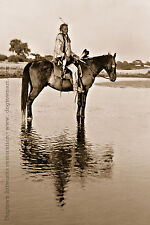 Reprint Vintage Native American Indian PHOTOGRAPH BLACK WOLF Cheyenne Horseback