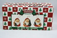 Holiday Collection Santa Bell Ornaments Set of 3 Christmas Tree