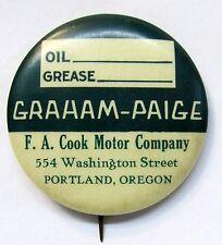 1920's GRAHAM-PAIGE  PORTLAND OREGON oil change car celluloid pinback button *