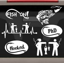 6-Ct Fishing Decals Sticker Set E1078 Rod Reel Lure Tackle Box Bait Bass Hooks