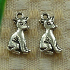 free ship 47 pieces tibetan silver dog charms 21x10mm #3516