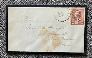 1884 2c Fancy Cancel Mourning Cover to New Haven Connecticut