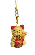 Lucore Golden Lucky Cat Smartphone Cell Phone Lucky Charm w/ Diamond Dust Plug