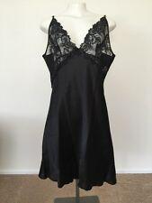 Women's Chemise Babydoll Nightwear Sateen XL/XXL Black Lace High Quality NWT