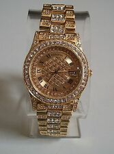 Men's  hip hop Bling Rapper clubbing  Gold finish with date fashion watch
