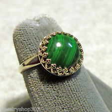 Natural Malachite Cabochon Sterling Silver Ring Gallery Bezel Mount Size 7