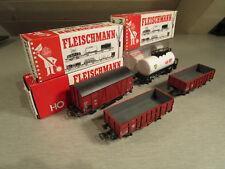 4x Fleischmann 5404 5012 5020 5011 Güterwagen Hochbordwagen Kesselw. H0 wie neu