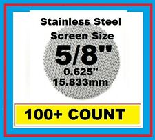 """100+ Stainless Steel PIPE SCREENS .625"""" (5/8"""") 15.875mm PipeScreenZ™ - USA Made!"""