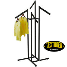 Heavy Duty Textured Black Finish - 4 Way Clothes Rack - Waterfall Arms