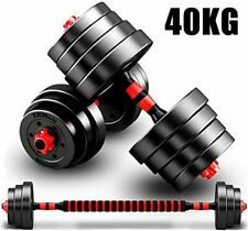 40KG Barbell & Dumbbell Set Pair Gym Body Building Free Weights Plates US