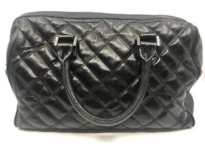 Tory Burch Black Quilted Leather Satchel Double Handles Zipper Silver Hardware
