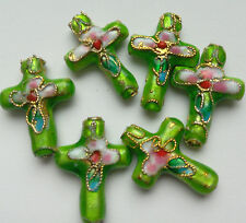 6  Cloisonne Beads, Ornate Floral Cross, Green/Pink 20x12mm. Jewellery Making