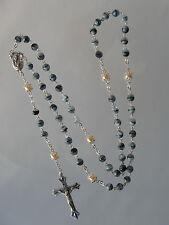 Glas Rosenkranz blau Nr. 6120 BL schöner Sammelrosenkranz Y Kette Halskette neu