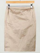 Escada Beige 100% Silk Women's Pleated Back Straight Pencil Skirt Size 34