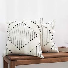 blue page Boho Farmhouse Diamond Decorative Throw Pillow Covers - Set of 2 Boho