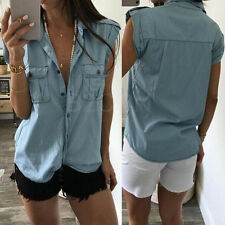 Fashion Women's Summer Blouse Sleeveless V neck Denim Vest Casual Tank Tops Blue