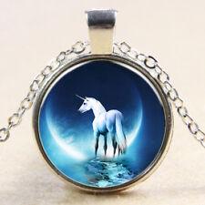 Einhorn Cabochon Anhänger Kette Unicorn Magie Mond