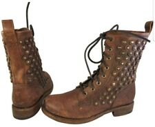 SIZE 7 M FRYE STUDDED WOMAN BOOTS LACE UP GRANNY GOTH BROWN LEATHER  JENNA