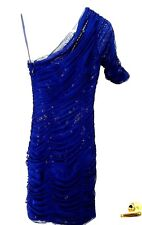 BCBG MaxAzria BOJANA Sequin Sparkle Sheer Overlay Ruched Dress-0,royal blue$348