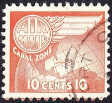 Canal Zone - 1951 - 10 Cents Light Red Orange Globe & Wing Airmail Issue # C23