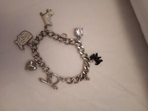 Genuine Juicy Couture Silver Plated Charm Bracelet With 5 Charms Exc Condition