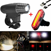 Premium USB Rechargeable 1000 Lumen LED Bike Light Headlight Taillight Set