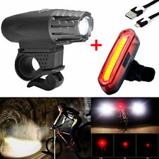 USB Rechargeable Bicycle Lights Set Water-Resistant Head and Tail LED