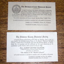 Two Cards - Delaware County Historical Society Meetings - Chester PA - 1932 & 36