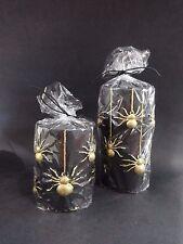 "New Gold Glitter Spider Black Pillar Candle 2 piece Set 4"" & 6"""