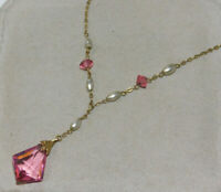 "Dainty Vintage Pink Faceted Crystal Pearl Bead 16"" Chain Choker Necklace 12n 59"