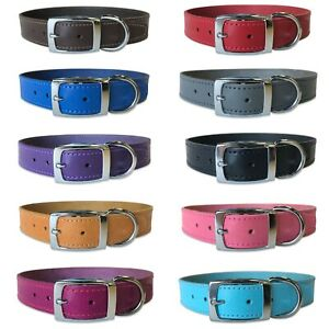 """Leather Dog Collar 1"""" Wide Real Leather Dog Collar with Chrome Hardware"""