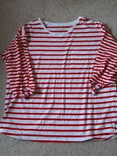 Ladies Red & White Nautical Striped Tie Sleeved Top